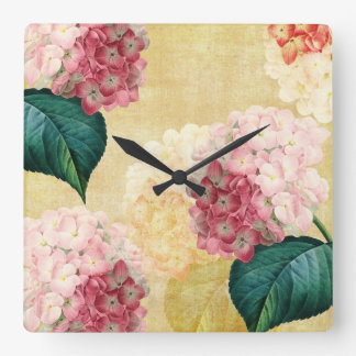 Pretty Hydrangea Floral Square Wall Clock