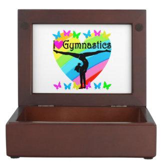 PRETTY I LOVE GYMNASTICS RAINBOW DESIGN KEEPSAKE BOX