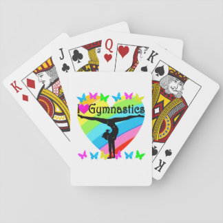 PRETTY I LOVE GYMNASTICS RAINBOW DESIGN PLAYING CARDS