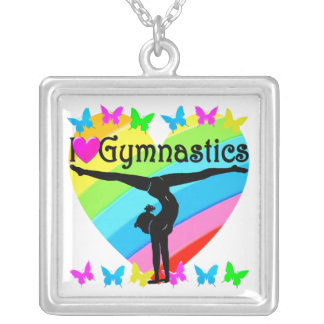 PRETTY I LOVE GYMNASTICS RAINBOW DESIGN SILVER PLATED NECKLACE