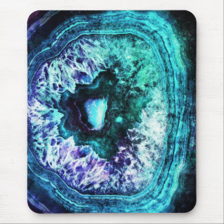 Pretty Icy Turquoise and Purple Geode Crystal Mouse Pad
