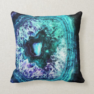 Pretty Icy Turquoise and Purple Geode Crystal Throw Pillow
