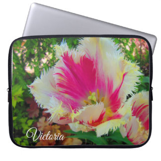 Pretty in Pink and White Fringed Tulips Laptop Sleeve