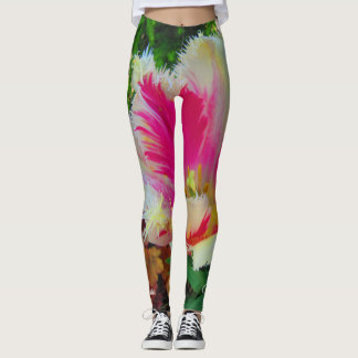 Pretty in Pink and White Fringed Tulips Leggings
