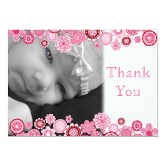 Pretty in Pink Baby Girl Photo Thank You Card
