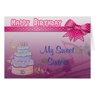 Pretty In Pink Bday Cake Greeting Card