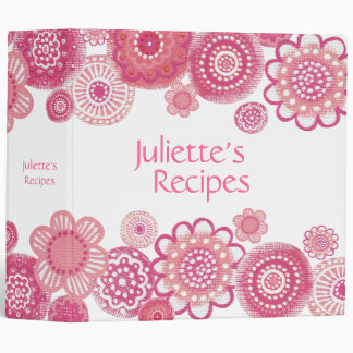 Pretty in Pink Blossoms Recipe Book Binder
