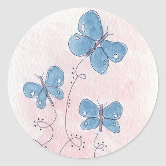 Pretty in Pink Blue Butterfly Classic Round Sticker