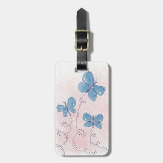 Pretty in Pink Blue Butterfly Luggage Tag