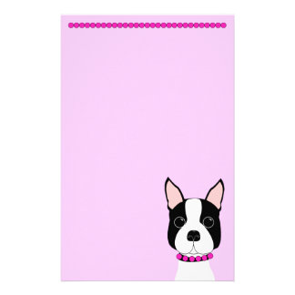 Pretty in Pink Boston Terrier Personalized Stationery