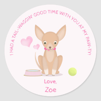 Pretty in Pink Chihuahua Round Sticker