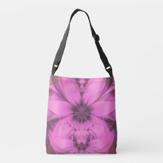 Pretty in Pink Fractal Flower Star-Shaped Petunias Crossbody Bag