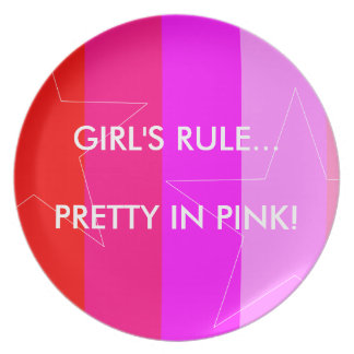 PRETTY IN PINK - GIRL'S RULE PARTY PLATE