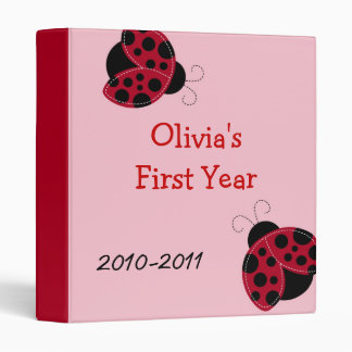 Pretty in Pink Ladybug Baby Photo Album Scrapbook 3 Ring Binder