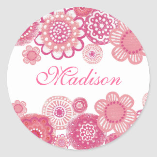 Pretty in Pink Painted Girls Name Cupcake Topper Round Sticker