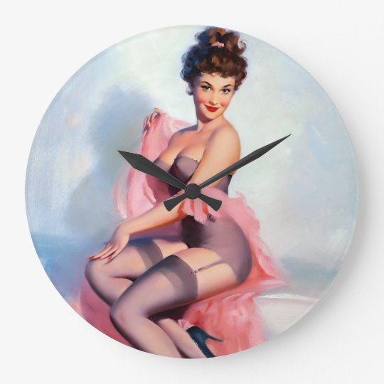 Pretty in Pink Pin Up Wall Clock