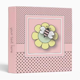 Pretty in Pink Polka Dot Girly Bumble Bee Binder