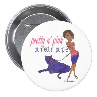 Pretty in Pink, Purrfect in Purple Button