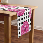 Pretty in Pink Watercolor Flowers on Polka Dots Short Table Runner