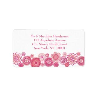 Pretty in Pink & White Floral Address Sticker