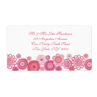 Pretty in Pink & White Floral Address Sticker Shipping Label