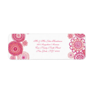 Pretty in Pink  White Floral Small Address Sticker Return Address Label