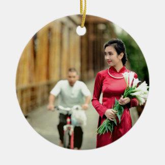Pretty in Red Round Ceramic Ornament