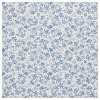 Pretty Indigo Blue Ethnic Floral Print Fabric
