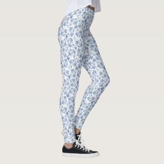 Pretty Indigo Floral Pattern on White to Customize Leggings