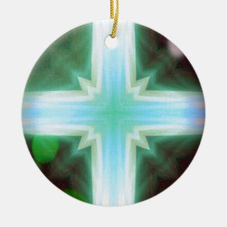 Pretty Inspirational Cross Shaped Pattern Round Ceramic Ornament