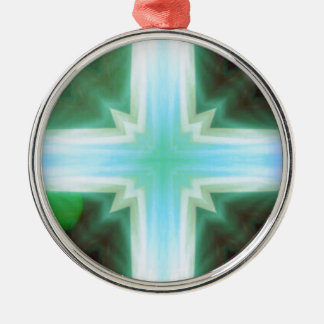 Pretty Inspirational Cross Shaped Pattern Silver-Colored Round Ornament