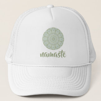Pretty Ivory and White Floral Rose Mandala Trucker Hat