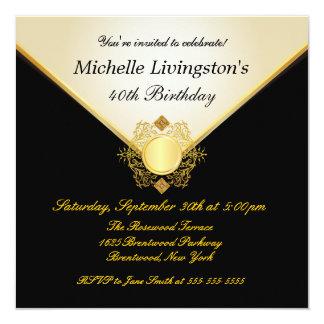 "Pretty Ivory Gold Black Womens BirthdayInvitations 5.25"" Square Invitation Card"