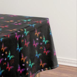 Pretty Jewel Tone Butterflies on Black Pattern Tablecloth