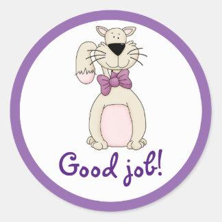 Pretty Kitty Cat Personalized Reward Good Job Classic Round Sticker