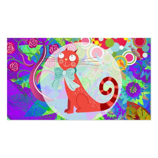 Pretty Kitty Crazy Cat Lady Gifts Vibrant Colorful Business Card Template