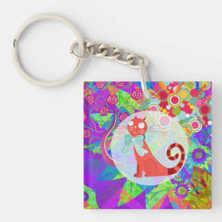 Pretty Kitty Crazy Cat Lady Gifts Vibrant Colorful Square Acrylic Keychains