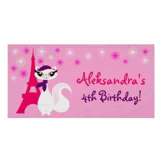 Pretty Kitty Paris Birthday Banner Poster