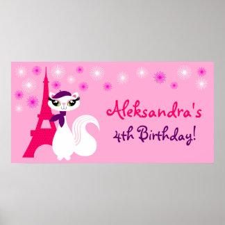 Pretty Kitty Paris Birthday Banner Posters