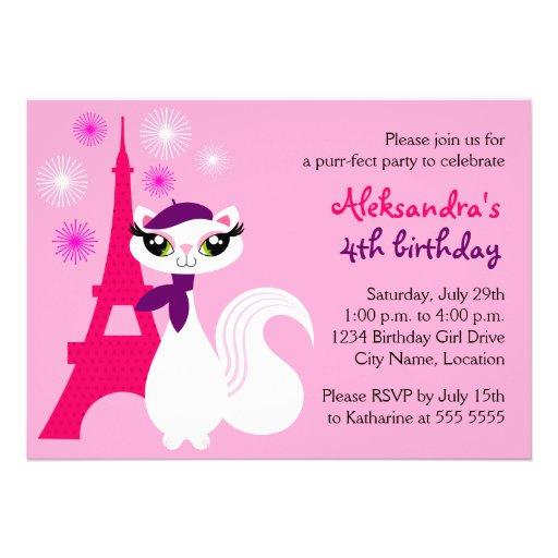 Pretty Kitty Paris Birthday Invitation