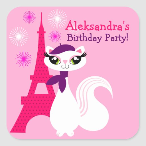 Pretty Kitty Paris Birthday Stickers
