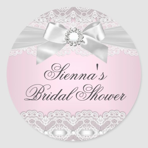 Pretty Lace & Bow Pink Bridal Shower Sticker