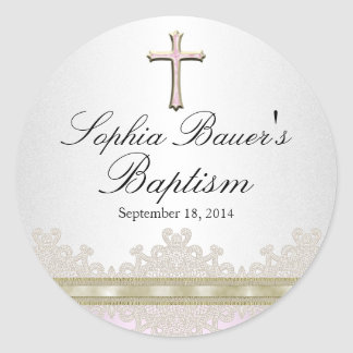 Pretty Lace & Cross Baptism Sticker