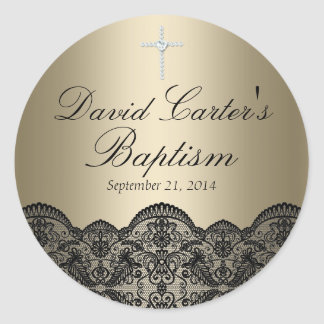 Pretty Lace & Cross Gold Baptism Sticker