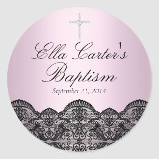 Pretty Lace & Cross Pink Baptism Sticker