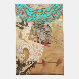 Pretty Lace Edge Vintage Butterfly Turquoise Sepia Kitchen Towel