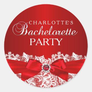Pretty Lace & Jewel Bow Red Bachelorette Sticker
