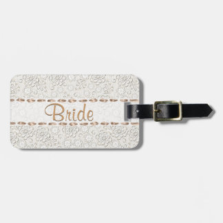 Pretty Lace Look Custom Bride's Luggage Tag