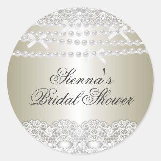 Pretty Lace & Pearl Bridal Shower Sticker