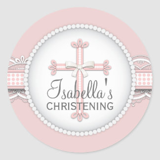 Pretty Lace Religious Celebration Cross in Pink Classic Round Sticker